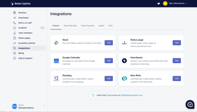 Intégration à d'autres services