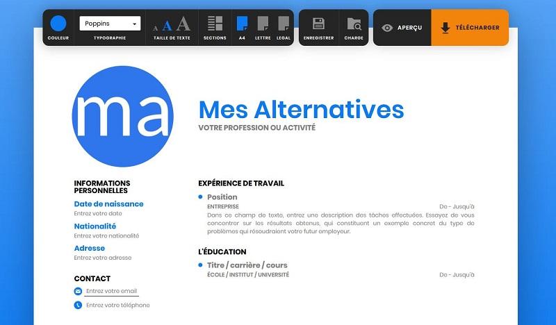 exemple d'interface ResumeMaker